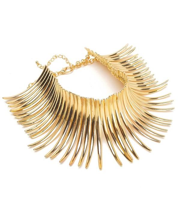 Fashion Sparkling Canine Shape Short Choker Collar Statement Necklace - Gold Tone - C511JN0NK89