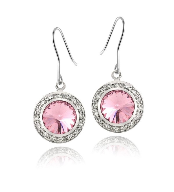 Bria Lou Silver Flashed Round Halo Drop & Dangle Fishhook Earrings Made with Swarovski Crystals - Light Rose - CW124I9IIS1