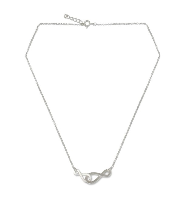 "NOVICA Brushed .925 Sterling Silver Handmade Pendant Necklace on Rolo Chain 'Into Infinity'- 18"" - C9127S0ZKYH"