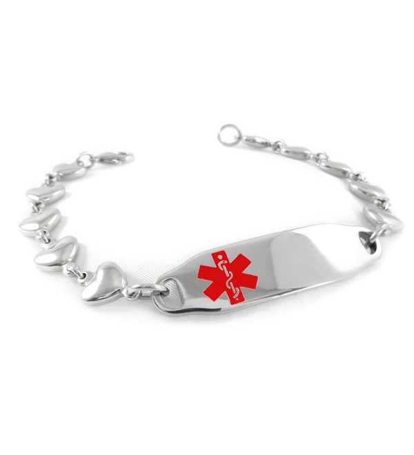 MyIDDr - Pre-Engraved & Customized Women's DNR Medical Alert ID Bracelet- Heart Chain - C611CMVLR2H