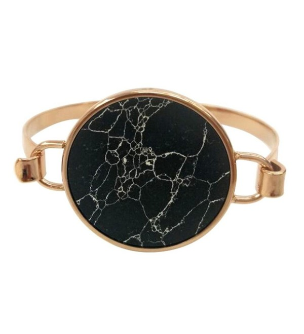 Mamona Marble Rose Gold Plated Bangle Bracelet - Black - CN12NT6Y0LM