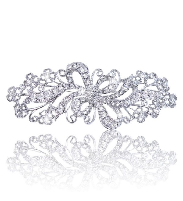 EVER FAITH Wedding Filigree Bowknot Brooch Clear Austrian Crystal - Silver-Tone - CG11J2EUW0Z
