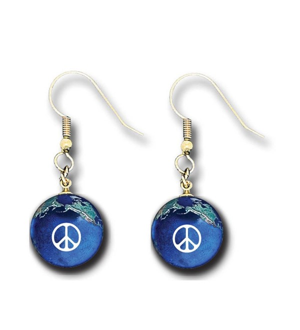 Peace Sign Earrings- Blue Earth Marbles- Natural Earth Continents - CI116LN2F05