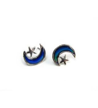 Moon and Star Mood Fashion Stud Earrings - CA114E53WJZ