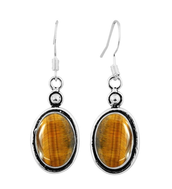 12 00ctw Silver Earrings Sterling Jewelry - Tiger Eye - C0182I4QT7M