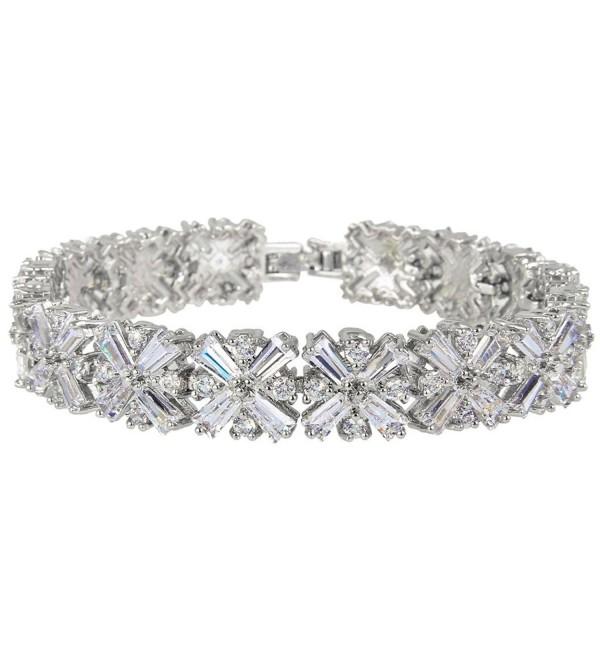 EVER FAITH Silver-Tone Zircon Luxury Wedding Cross Tennis Bracelet Clear - C411SCF0JZX