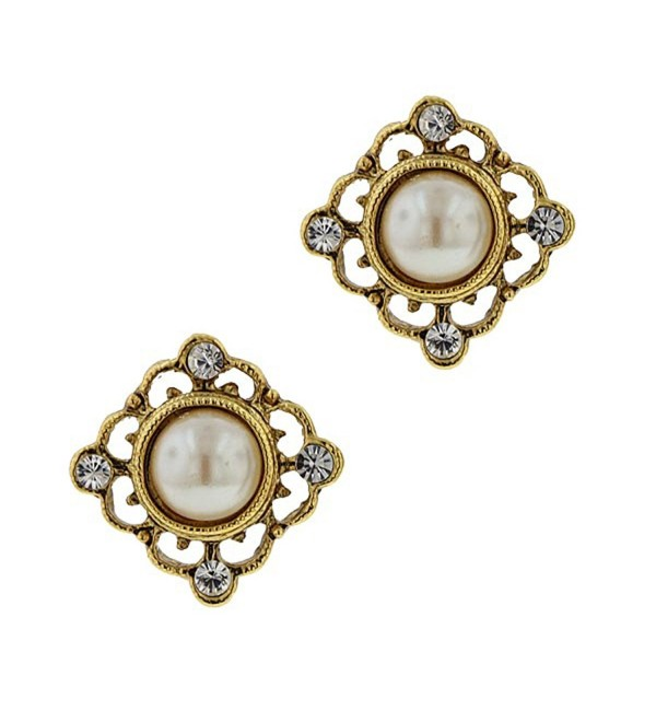 1928 Jewelry Inspirational Pearl Stud Earrings - C6113GLEWH9
