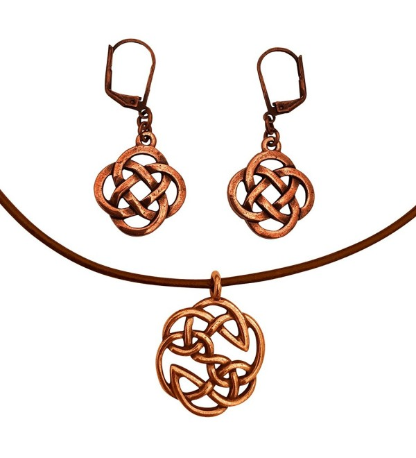 DragonWeave Celtic Open Knot Charm Necklace & Earring Set- Antique Copper Brown Leather Adjustable - CB182XE0O9I