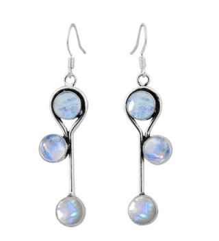 Moonstone Silver Earrings Sterling Jewelry - Rainbow Moonstone - CR126B92RD3