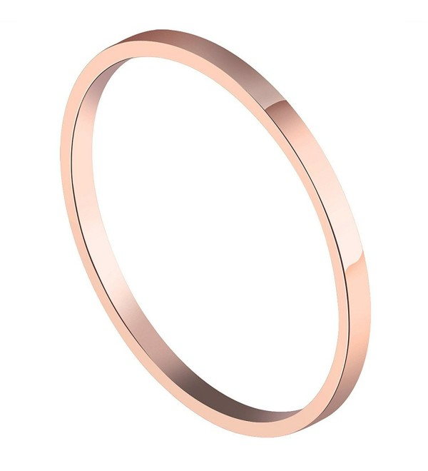 PAURO Women's Stainless Steel Rose Gold Plated Knuckle Midi Ring Set Stackable 1.5MM Plain Band - CD185O2LK57
