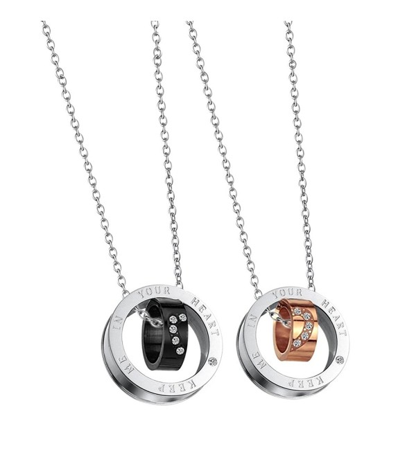 Paris Selection His and Hers Titanium Plated Steel Matching Necklace 2 Pc Set for Couple in Gift Box - C812OE1PHLS