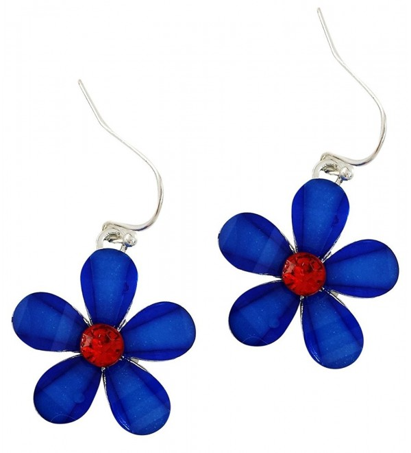 Silver Plated Blue Patriotic Crystal Five Star Earrings with Red Crystal Center- Hypo Allergenic - CB12HEC3W1H