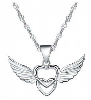 Infinite U 925 Sterling Silver Double Hearts Angel Wings Pendant Necklace-Rose Gold/Silver - Silver - CT12EYR3YZJ