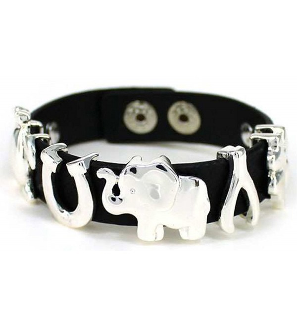 Lucky Theme Elephant Horse shoe Clover Turtle Adjustable Button Closure Cord Bracelet - Silver-tone - CA11EAI1H8N