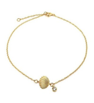 Bling Jewelry Gold Plated Silver Clam Shell Seashell CZ Charm Anklet 7in - CI11FTFYM57