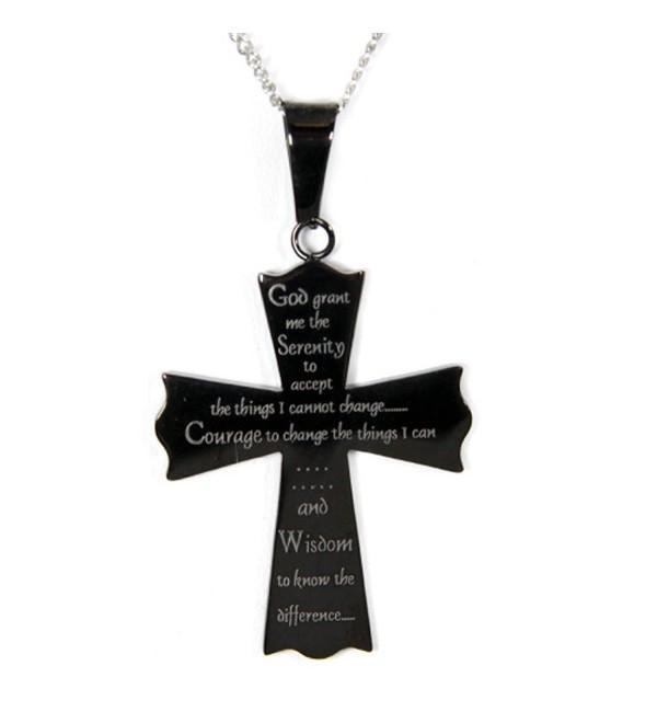 Serenity Prayer Cross Pendant Necklace - Cross Necklace - Serenity Pendant - Recovery 12 Step Gifts - C7110JSCQDT