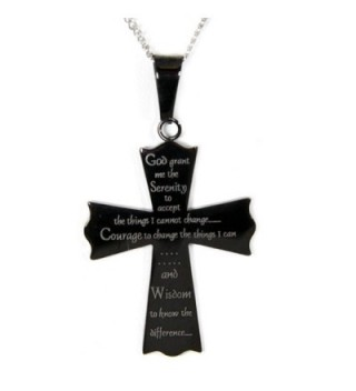Serenity Prayer Cross Pendant Necklace - Cross Necklace - Serenity Pendant - Recovery 12 Step Gifts - C7110JSCQDT