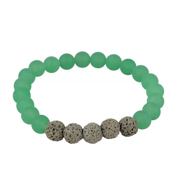 Matte Green Aventurine and Grey Lava Rock Essential Oil Bracelet Essential Oil Jewelry 8mm Yoga Jewelry - CE12O2XUK5E