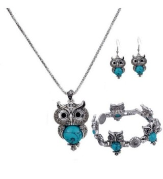 YAZILIND Silver Plated Turquoise Owl Pendant Necklace Drop Earrings for Women Jewelry - Blue - C712FMI9INL