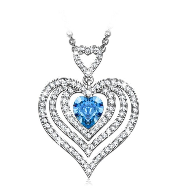 "Qianse ""Endless Love"" Heart Pendant Necklace- Made with Swarovski Crystals - CD182SW76O0"