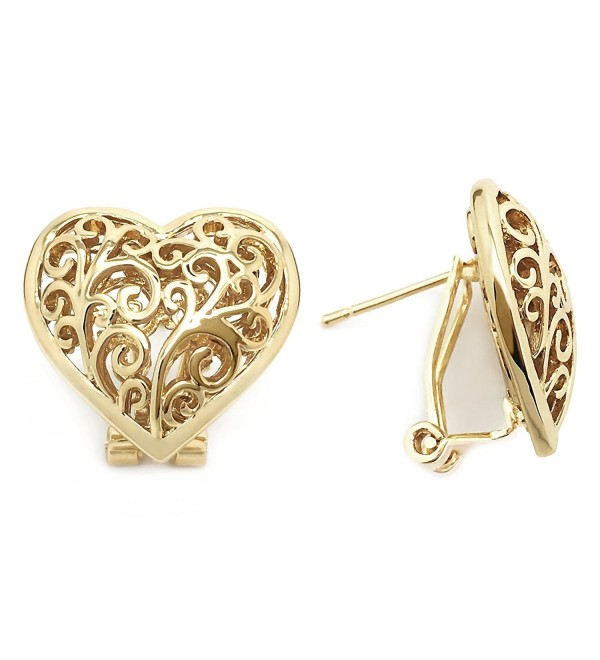 Sparkly Bride Heart Stud Earrings Filigree Scroll Ornate Gold Plated Women Fashion Omega Back - CA12NABLY83