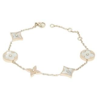 Baoli Rose Gold Titanium White Shell Clover Women's Chain Bracelet - CC12N1IOMCY