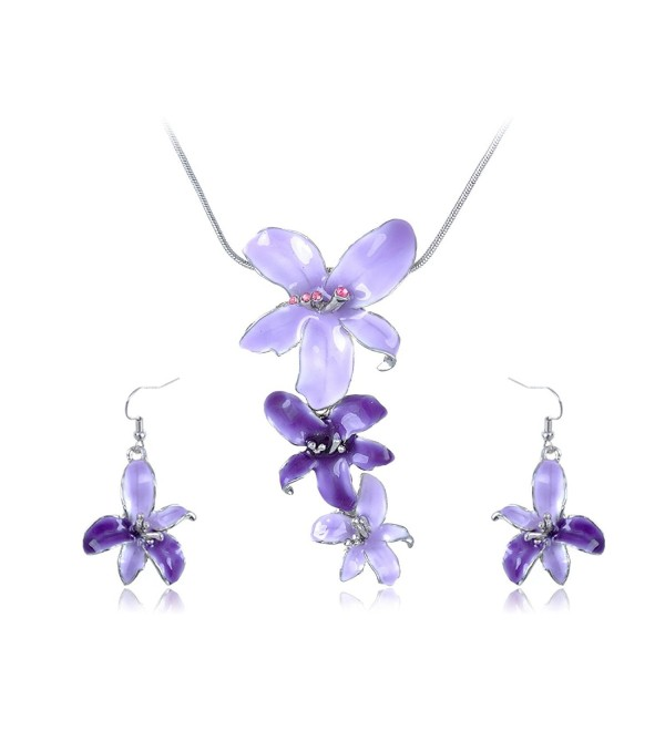 Alilang Silvery Tone Pink Rhinestones Purple Hawaiian Flower Necklace Earrings Set - CX114V6ZPPB
