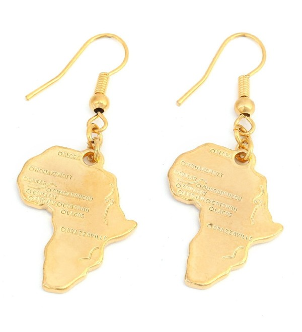 24k Gold Plated Map of Africa Continent Dangle Earring - CL12O5FR3UL