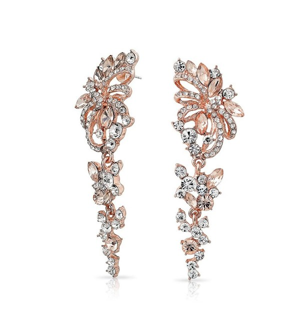 Bling Jewelry Rose Gold Plated AlloyCrystal Flower Chandelier Earrings - CN128PE4S1B