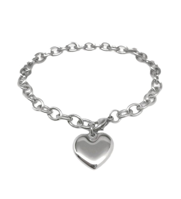Womens Stainless Steel Heart Charm Chain Bracelet Adjustable (6.5 - 8 Inch) - C412LO8720T