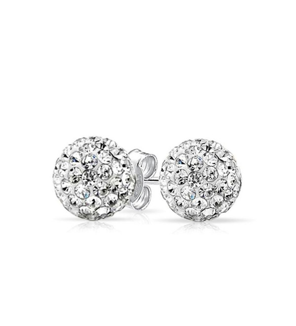 Stud Post Earrings Micro Pave Round Cubic Zirconia 925 Sterling Silver - CK12MXMTC7D