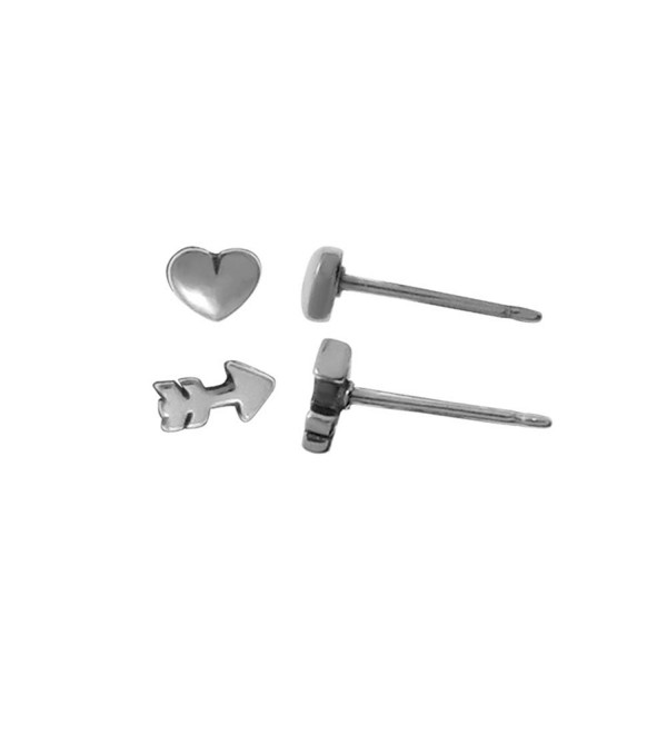 Boma Sterling Silver Heart And Arrow Stud Post Earrings - CK1182F8833
