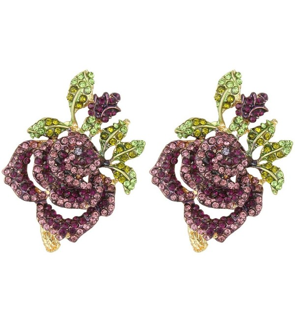 EVER FAITH Women's Austrian Crystal Romantic Rose Flower Leaves Stud Earrings - Purple Gold-Tone - CI129UGJ5OD