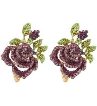 EVER FAITH Women's Austrian Crystal Romantic Rose Flower Leaves Stud Earrings - Purple Gold-Tone - CI129UGJ5OD