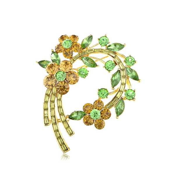 Alilang Topaz Green Crystal Rhinestone Fresh Spring Floral Flower Leaf Wreath Pin Brooch - C8113T2B0ST