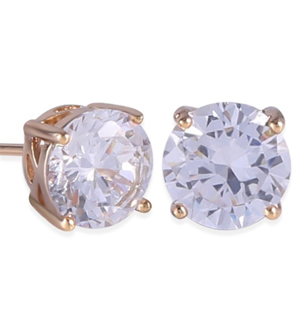 GULICX Yellow Gold Plated Base Smart 7MM White Topaz Color Stud Earring Women - white - CO11Y6L9W8H