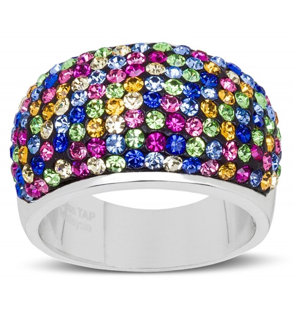 Carly Creations Women's Silver Plated Genuine Crystal MultiColored Band Ring (See More Sizes) - C012JURPPYV