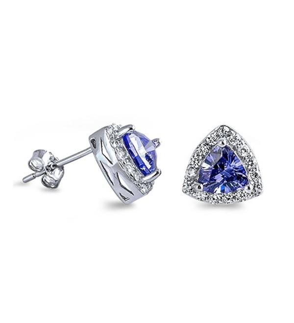 Triangle Halo Stud Post Earring Trillion Cut Simulated Blue Tanzanite Round CZ 925 Sterling Silver - CU12N2JALTH
