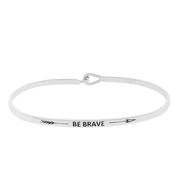 "Rosemarie Collections Women's Inspirational Thin Hook Bangle Bracelet ""Be Brave"" - Silver - CQ12O6OJJSP"