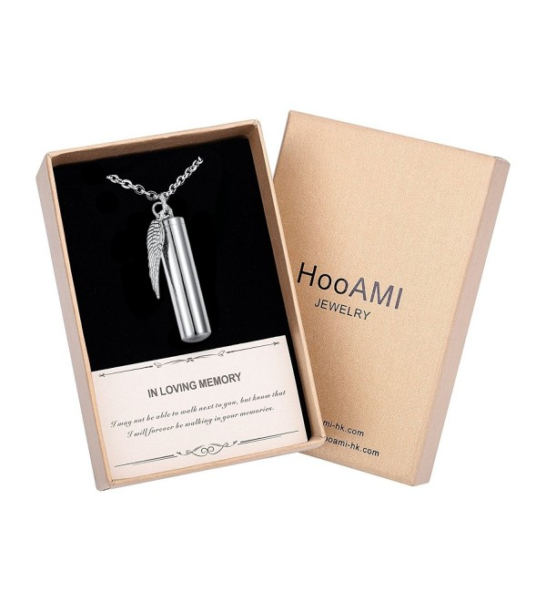 HooAMI Angel Wing Charm & Cylinder Memorial Urn Necklace Stainless Steel Cremation Jewelry - C618542MZCQ