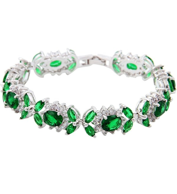 White Gold GP Oval Marquise Round Tennis Green CZ Bridal Wedding Bracelet - CG1237MV61B