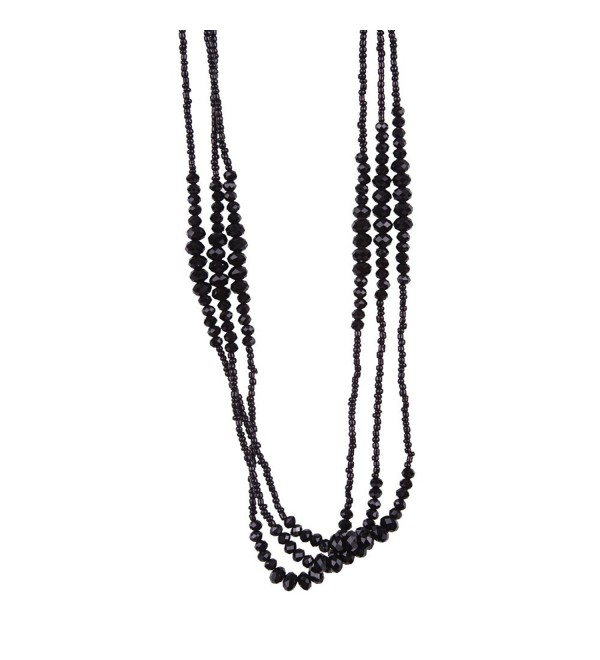 Vintage Midnight Black Sparkly Beaded Necklace Jewelry (Very Long - 37 Inches) - CN11D5CQ6E1
