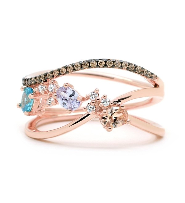 Sparkly Bride Chocolate CZ Statement Ring Clustered Multi Color Crossover Rose Gold-Flashed Women Fashion - C0187RA7U3S