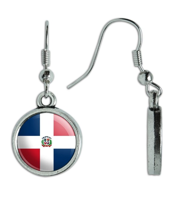 Novelty Dangling Drop Charm Earrings Country National Flag C-I - Dominican Republic National Country Flag - CP12N8NB134