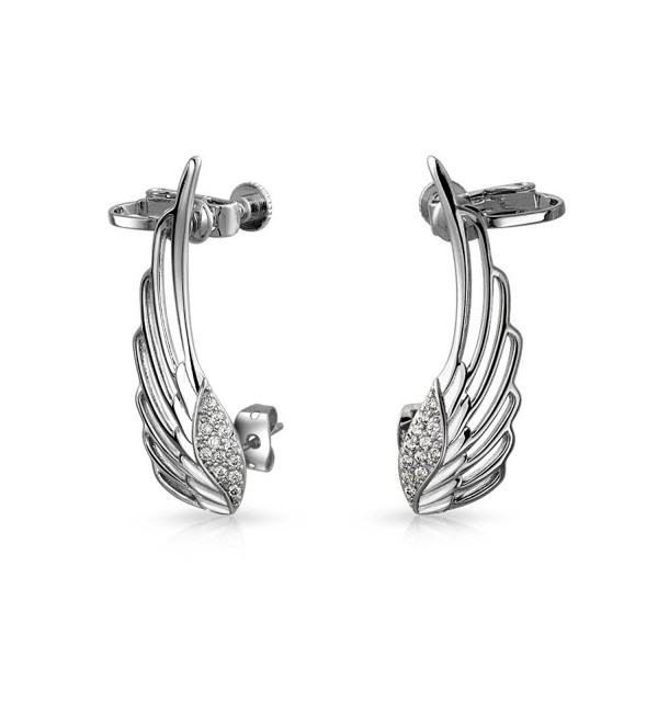CZ Angel Wings Screwback Cartilage Earrings Rhodium Plated Brass - CB11TL5032R