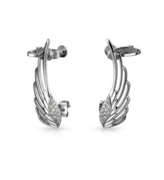 CZ Angel Wings Screwback Cartilage Earrings Rhodium Plated Brass - CB11TL5032R