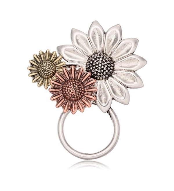 NOUMANDA Gold Silver and Rose Gold Three Sunflower Magnetic Eyeglass Holder Brooch - CW17YSE2KG3