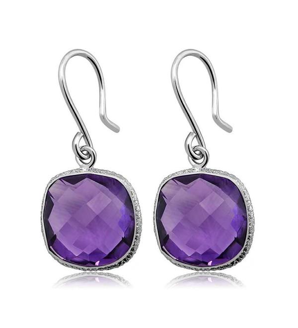 12.00 Ctw 925 Sterling Silver Amethyst Gemstone Birthstone Cushion Checkerboard Dangle Women's Earrings - CC11WT41LN7