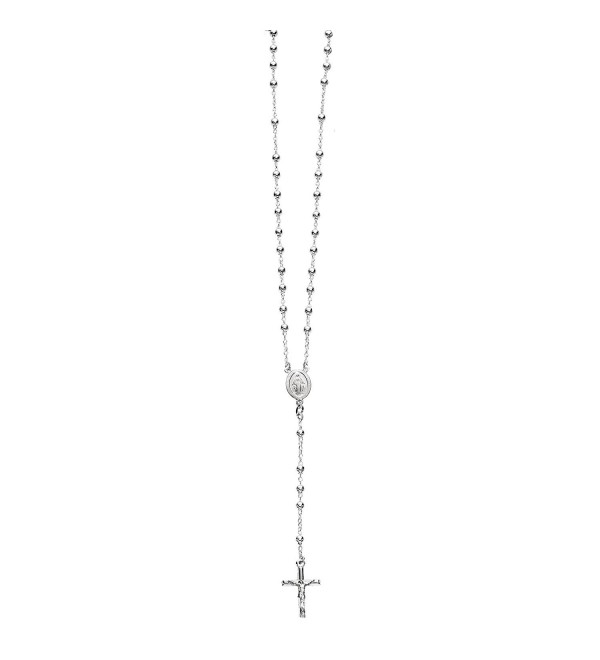 Sterling Silver or Gold-tone 4mm Rosary Bead Necklace Virgin Mary Cross Made in Italy (24 Inches) - Silver - CA119CVGV35