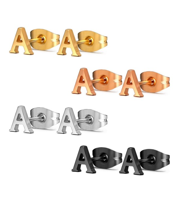 Assorted Stainless Alphabet Earrings Hypoallergenic - Letter A x 4 Pairs - CW11JS7FJNB